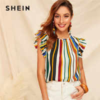 SHEIN Ruffle Armhole Striped Summer Blouse Ladies Tops Round Neck Sleeveless Casual Blouse Women Clothes 2019 OL Workwear Top