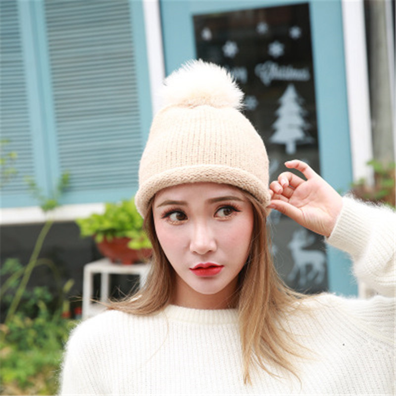 mink and fox fur ball cap pom pom winter hat for women girl 's wool hat knitted cotton beanies cap brand new thick female cap realleader м2 1005