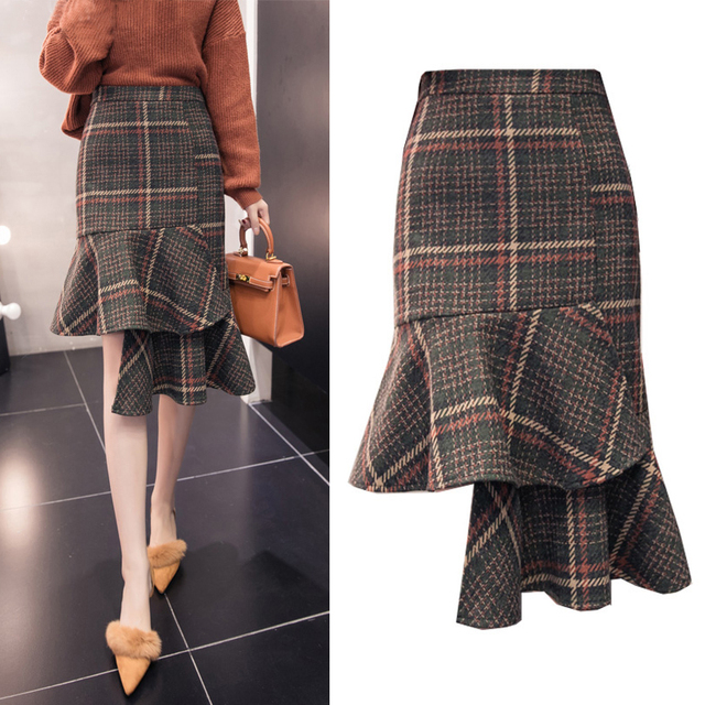d1e976aafb528e 2018 Autumn Winter Plaid Skirts Women High Waist Asymmetrical Ruffles Wool  Skirt Plus Size Elegant Midi Skirt faldas saia
