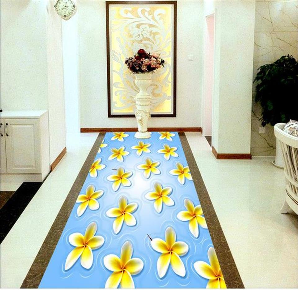 ФОТО 3d pvc flooring custom photo mural picture wall sticker blue gardenia 3D floor wallpaper for walls 3d room decoration painting