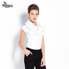 Ruoru European Style White Body Shirt Ruffled Collar Ruffles Blusa Feminina Uniform Office Shirt Fashion Body Blouse Work Wear