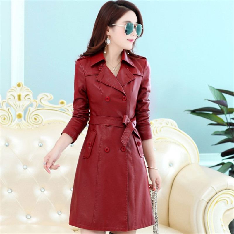 Slim   Leather   Jacket Woman Plus Size Double Breasted Long Trench Coat Autumn Winter High Quality PU   Leather   Outerwear Xl5103