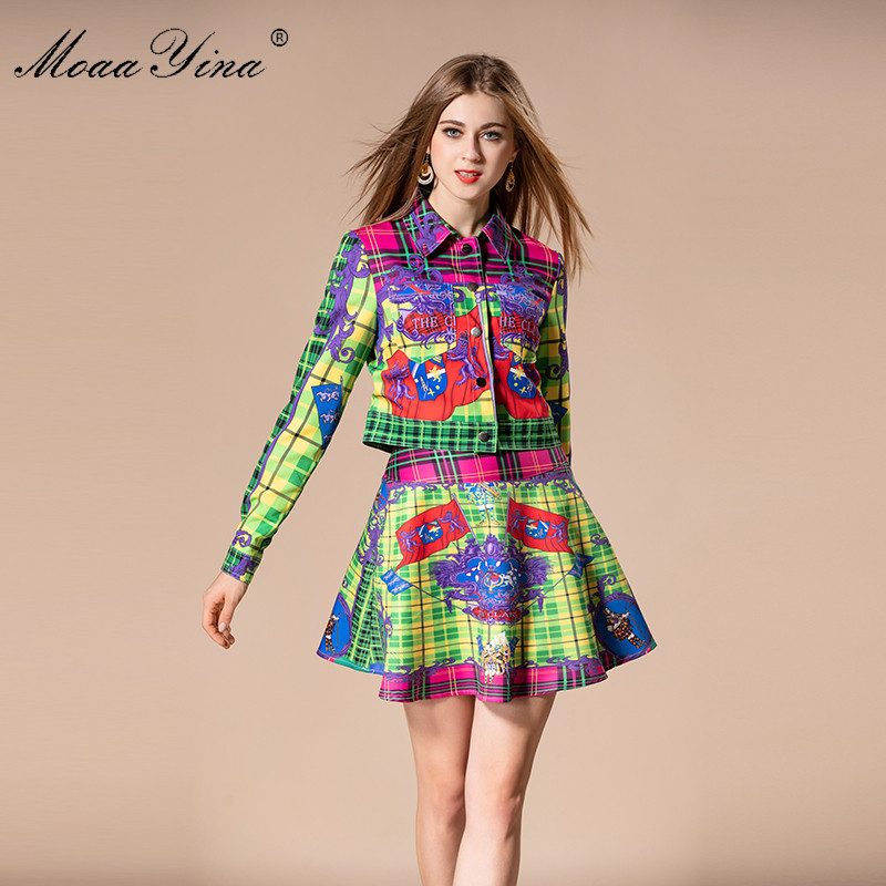 MoaaYina 2018 Fashion Designer Set Autumn Women Turn down Collar Plaid Floral Print loveliness Elegant Tops