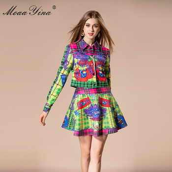 MoaaYina 2018 Fashion Designer Set Autumn Women Turn-down Collar Plaid Floral Print loveliness Elegant Tops+Sexy Mini Skirt Suit - DISCOUNT ITEM  15% OFF All Category