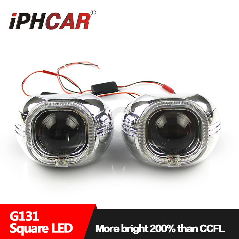 Free Shipping IPHCAR Car Styling Headlight Bi Xenon Projector Lens Square LED Projector Cover Shroud for Hella Q5 Projector lens 1x original hella projector control wire q5 bi xenon hid projector solenoid wire plug pigtail set wiring car styling accessories