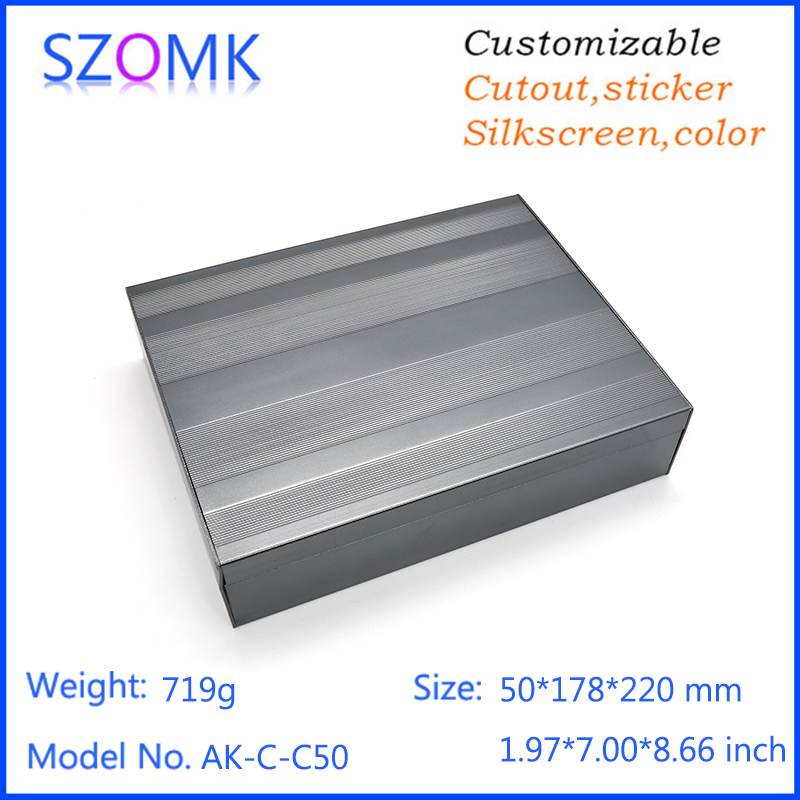 1 piece, 50*178*220mm electrical aluminum extrusion power supply enclosure box szomk hot selling quality electronics pcb box 1 piece szomk power supply brushed aluminium enclosure housing black project box in black color for pcb 50 178 200mm