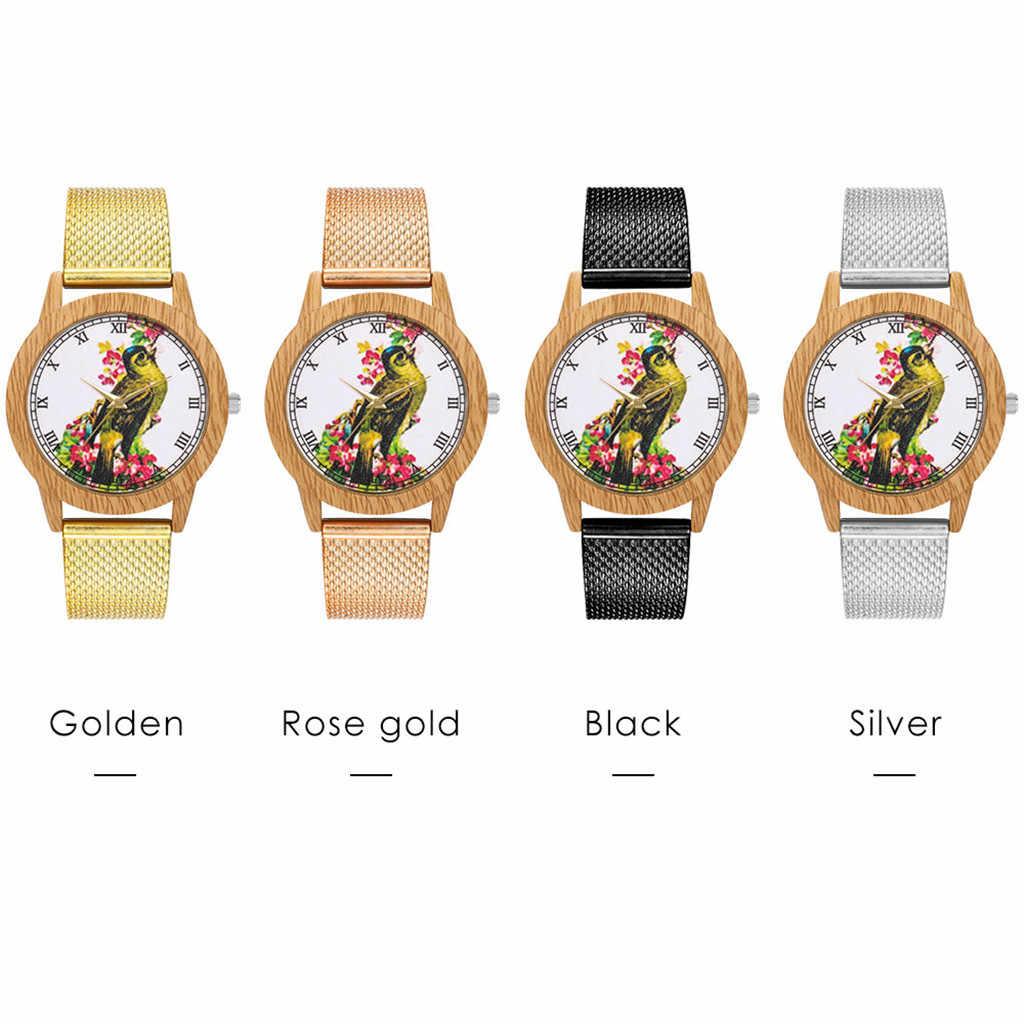 2019 Saat moda naturaleza grano de madera ocio pájaro Dial correa de silicona pulsera de cuarzo reloj de pulsera Dropshipping reloj femenino