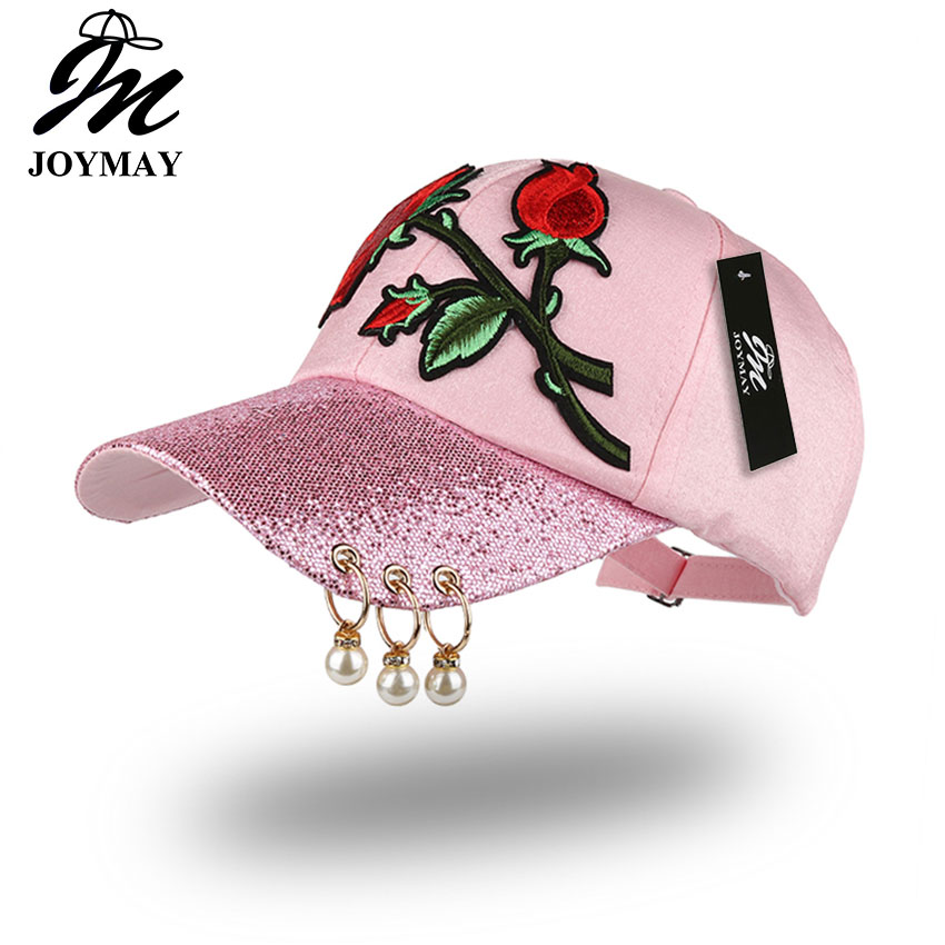 JOYMAY Spring New Fashion Women Baseball cap with Flower Rose Embroidery Badge Adjustable Leisure Casual Snapback HAT B433 недорго, оригинальная цена
