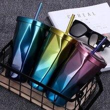Летние крутые Шейк чашки уникальный градиент нерегулярные кофейные чашки высокое качество красочные металлические чашки Vogue портативный уплотнитель стакан с соломинкой