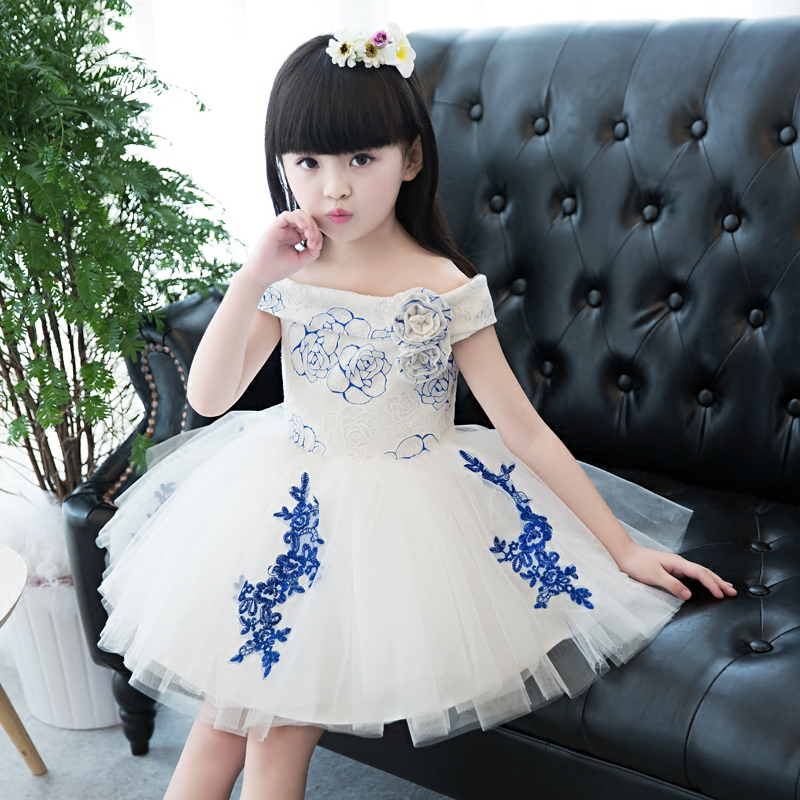 2017 New Arrival Embroidery Girls Kids Lace Wedding Party White Princess Dress For Girl Summer Children's Princess Dresses 3-15Y new fashion embroidery flower big girls princess dress summer kids dresses for wedding and party baby girl lace dress cute bow