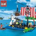 Ciudad serie pirates ship building block sets enlighten niños ladrillos educativos juguetes para niños