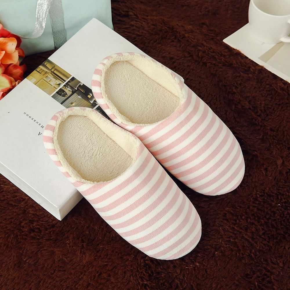 女性の靴のスリッパ男性ウォームストライプスリッパ屋内アンチスリップ冬の家の靴屋内 & 屋外スリップオンフラット暖かい靴