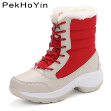 High Top Thick Sole Non-slip Winter Warm Leather Women Boots Shoes Black Fashion Sneaker Footwear Female Snow Shoes Ankle Boots цена в Москве и Питере