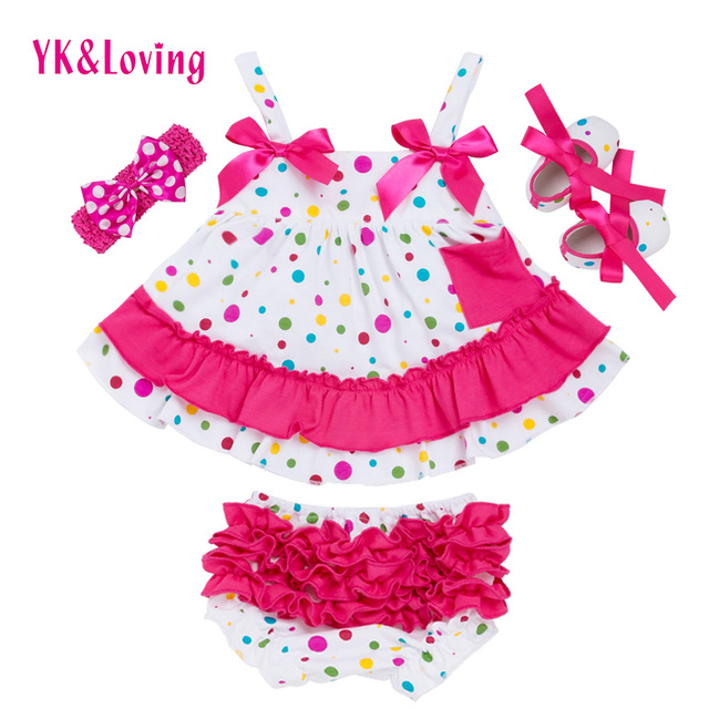 Lovely Beautiful Baby Girl Clothing Set Cotton Dot Rose Red Sling Ruffle  Bloomers Shoes 4pcs Swing top Set Girls Clothes ef601b4f1cb2