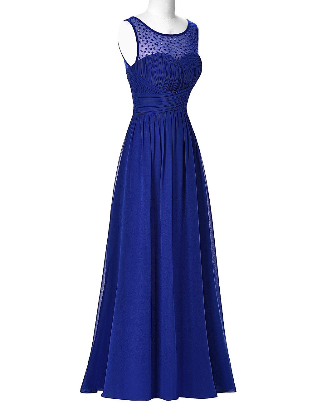 Cheap Hot Sell Long   Prom     Dresses   2016 Sleeveless V-Back Chiffon Ombre   Dress   Strazz Ruched Wedding Dinner   Dress     Prom   Gowns
