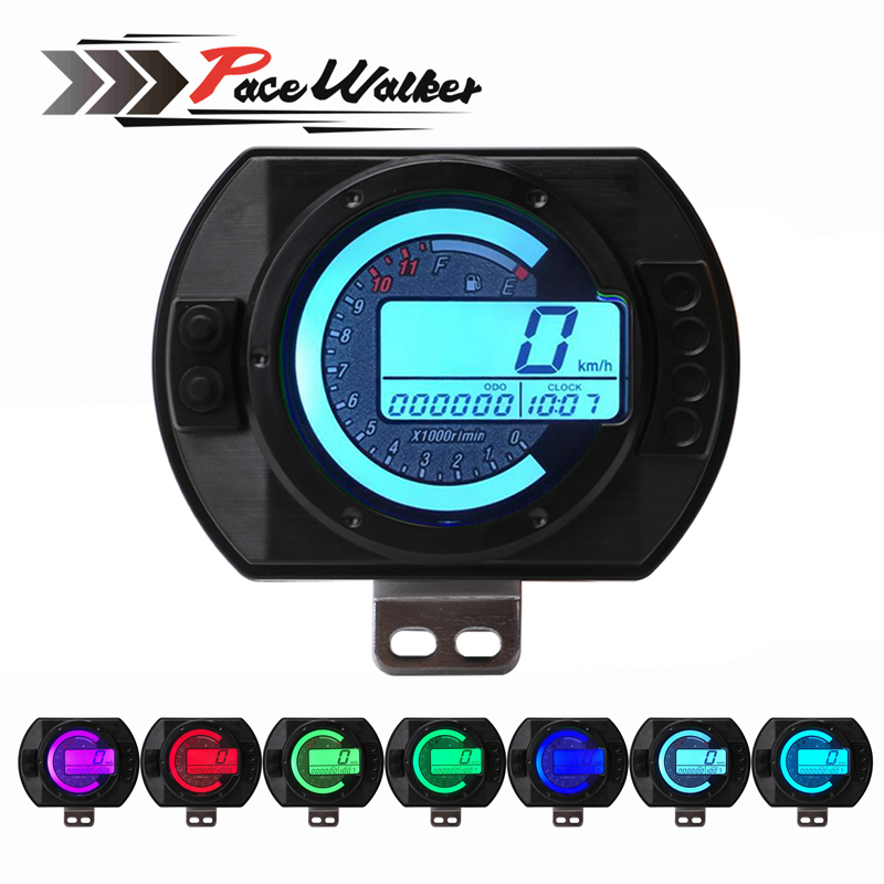 12500 RPM Motorcycle Speedometer LCD MPH Digital Odometer 7 Colors Backlight Motorbike Speedometer Tachometer