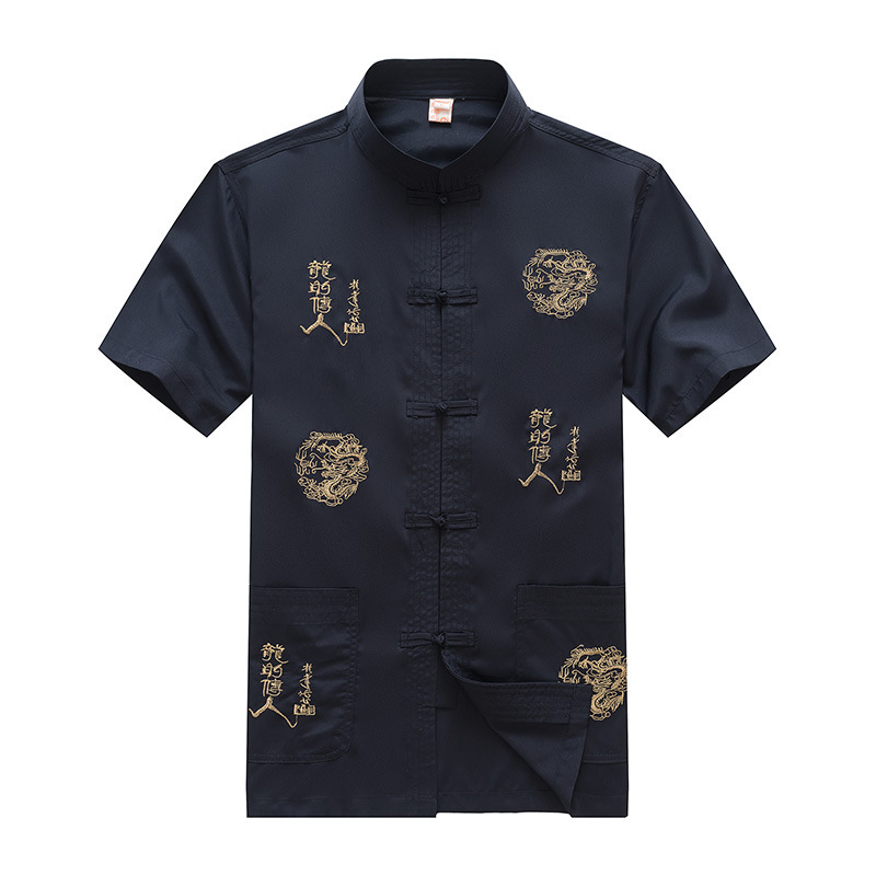 Mandarin collar shirt men cotton dragon print dress shirt for Patterned dress shirts for men
