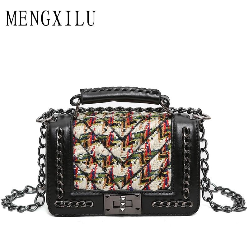MENGXILU Fashion Small Flap Bag Crossbody Bags Women Luxury Quilted Plaid Chains Shoulder Handbag Famous Brand Design Messenger chanel boy flap bag