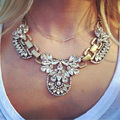 2017 New Chunky Gem Crystal Flower Statement Unique Starburst Pendant Rhinestone Luxury Instagram Maxi Choker Necklace For Women