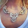 2017 Nueva Chunky Gem Declaración de Flores de Cristal Único Instagram Starburst Colgante de diamantes de Imitación de Lujo Maxi Collar de Gargantilla Para Las Mujeres