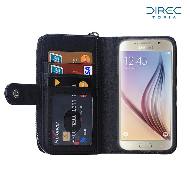 detailed look c353f 6801d US $11.99 |2 In 1 Purse Case for Samsung Galaxy S6 Wallet Case Flip Leather  Card Slots Zipper Hand Bag Distressed Leather Wallet Phone Case-in Wallet  ...