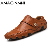 AMAGINMNI Fashion British Style Men Causal Shoes Genuine Leather Slip On Men Shoes High Quality Outdoor