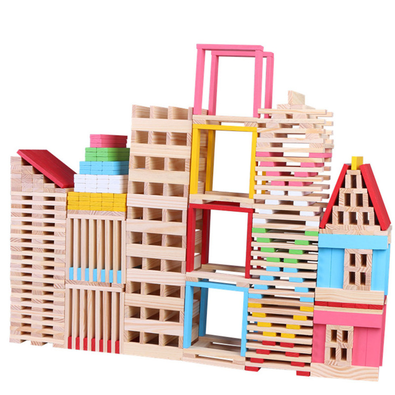 Wooden Blocks Puzzle Intelligence Toys 150pcs Wooden Building Model Materials Building Blocks Creative Build Toys For Children