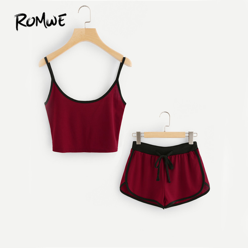 ROMWE Bourgogne Casual Cami 2 Pièce Ensemble 2017 Femmes Sonnerie Bref Crop Top Avec Cordon Shorts D'été Couleur Bloc Deux Pièces Ensemble