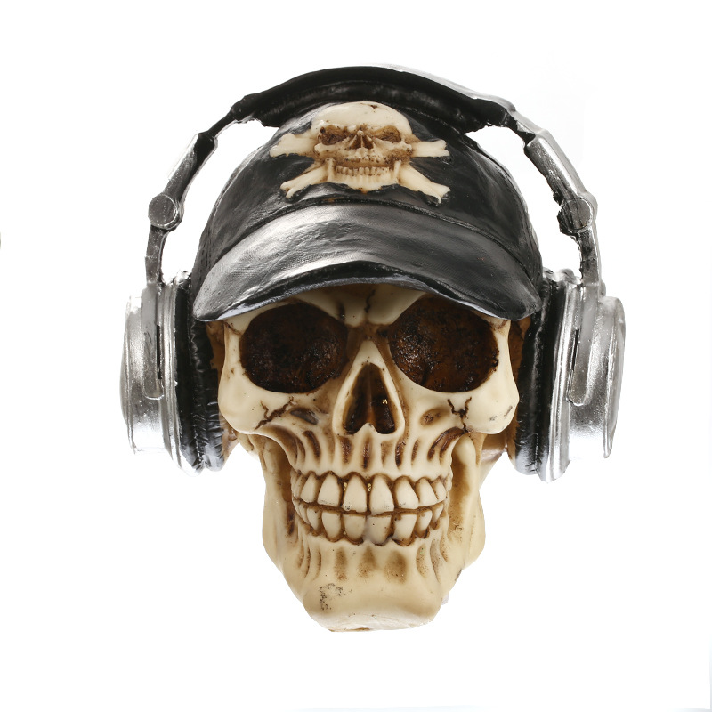 New model craftmanship Resin skull Halloween gift personality ornaments home accessories skull with headphone