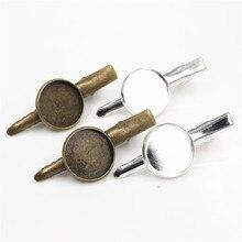 16mm 18mm 20mm 10 pçs de alta qualidade bronze prata chapeado material cobre hairpin grampos cabelo base ajuste cabochão cameo