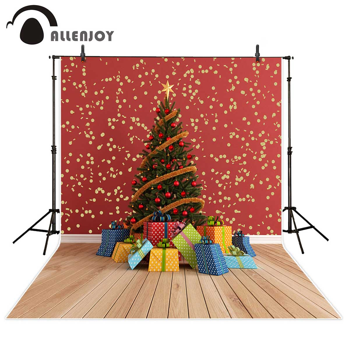 Allenjoy christmas photography backdrops Christmas tree gifts golden shiny dots wall Photo background Photo studio funds allenjoy christmas photography backdrops christmas background gifts white brick wall wooden floor bulbs table for baby for kids