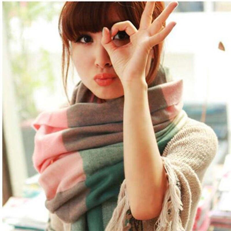 180*60cm Women Wool Plaid   Scarf   Female Warm Cashmere   Scarves   Wide Lattice Long Shawl   Wrap   Blanket Tassel Tippet Drop Ship