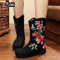 New Retro Plum sakura shoes women fashion women winter boots embroidery flats platform shoes boots ladies shoes botas mujer