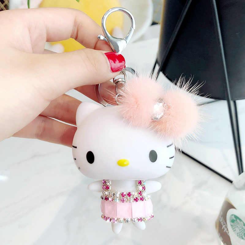 74f20a947 ... Cartoon Rhinestone Crystal Hello Kitty Keychain KT Mink Fur Pom Pom Key  Ring Women Purse Car