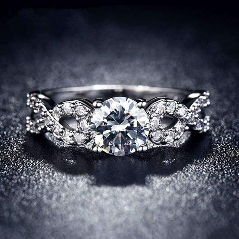 JEXXI Brand Cross Design Fashion Sterling 925 Silver Bridal Wedding Rings For Women Cubic Zircon Crystal Female Finger Rings