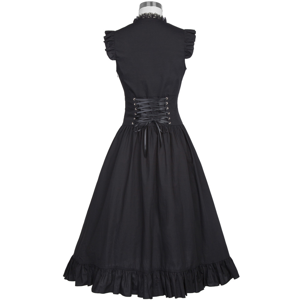 Belle Poque Women Sleeveless V-Neck Lace-up Corset Ruffle Dress 2018 Retro Vintage Steampunk Black Punk Gothic Victorian Dress 10