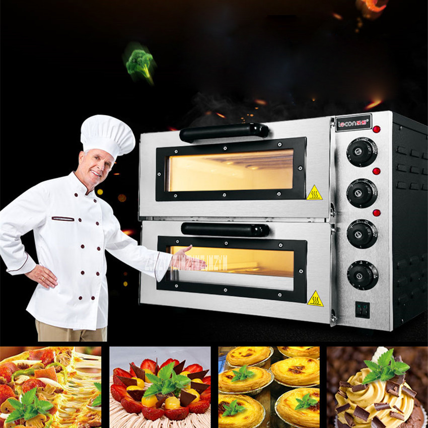 New Arrival Double-layer Large Electric Oven PO2PT Commercial Oven Cake Bread Pizza Oven Large Electric Oven 220V 3000W 0-120min 3000w stainless steel commercial electric pizza oven with timer 2 layer making bread pizza cake baking oven