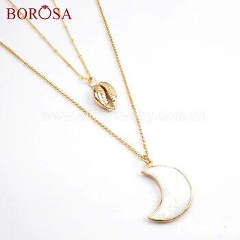 4fe01ebe77f4 BOROSA 3 5 piezas natural Shell Cowrie Shell blanco de doble-capa collar de  cadena de joyería de 20