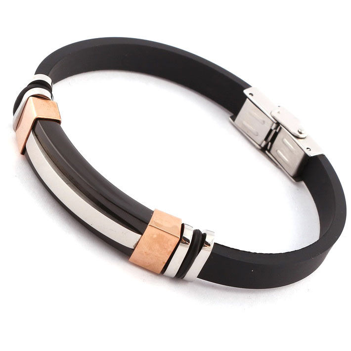 Mens Black Silicone Bracelets Rose Gold Plated Stainless Steel Rubber Bracelet For Men Wristband Fashion Cool Simple In Charm From