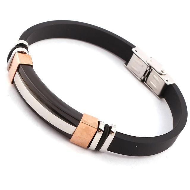 Fine Jewelry Mens Stainless Steel Black Leather 7 Rubber Bracelet 2gAVHFwZct