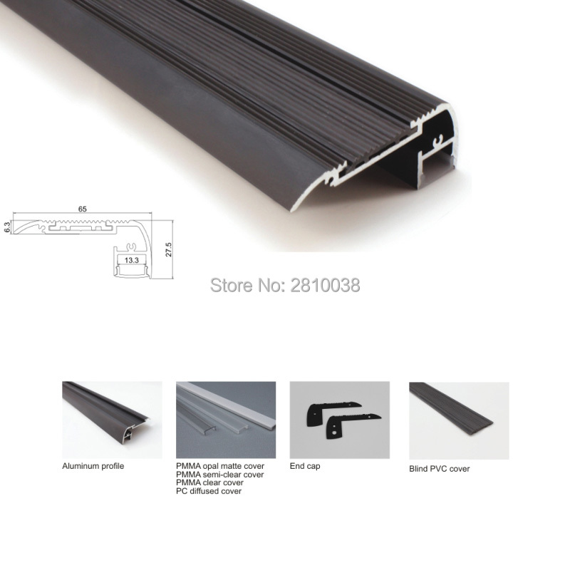 22 X 2M Sets/Lot stair step aluminium led profile and black finished flat led profile light for step ladders lamps 10 x 2m sets lot 6000 series led aluminium profile for led strip ultra big t size aluminum led housing for ceiling lamps