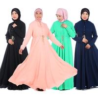 Hot Mode Moderne Islamitische Kleding Trekkoord Taille Moslim Vrouwen Jilbabs Abaya Islamitische Lange Mouwen Arabische Midden-oosten Jurk