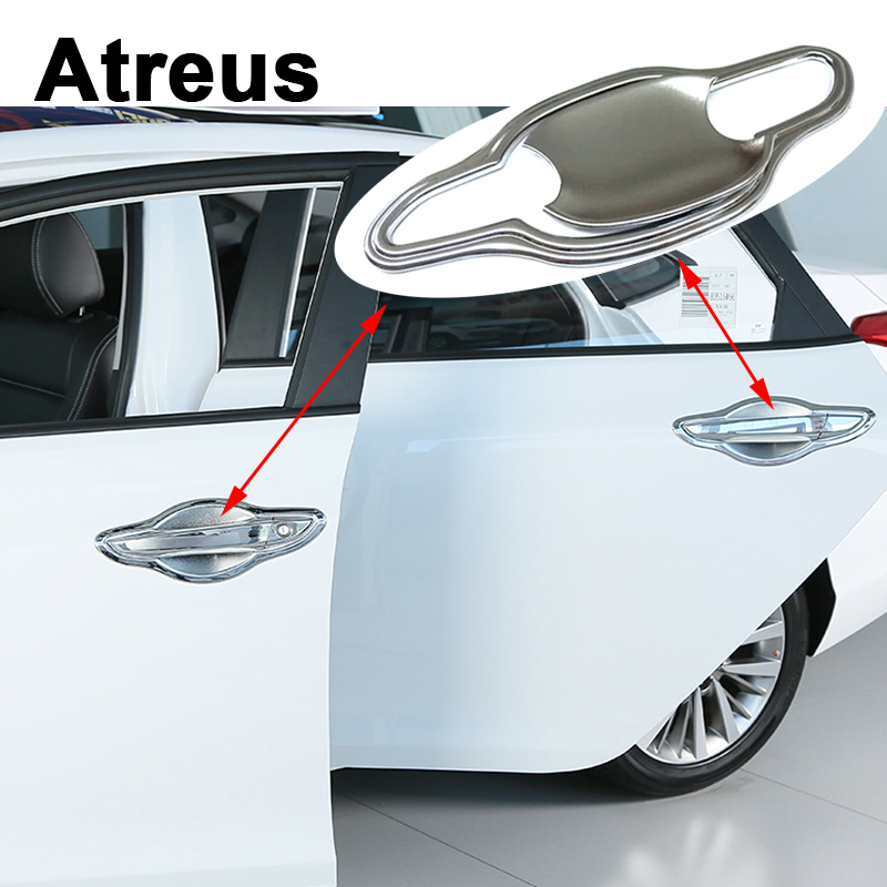 Atreus 8pcs Car Accessories For Hyundai Tucson 2017 2016 2015 External Door Handle Bowl Panel Frame Trim Covers Stickers