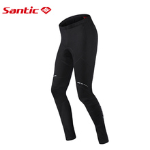 Santic Men Winter Cycling Pants Thermal Fleece Warm Mountain Road Bike MTB Pants Italian Imported 4D Padded Bicycle Long Pants santic cycling pants men winter long 4d padded thermal fleece bib pants tights warm mtb mountain bike pants bicycle trousers