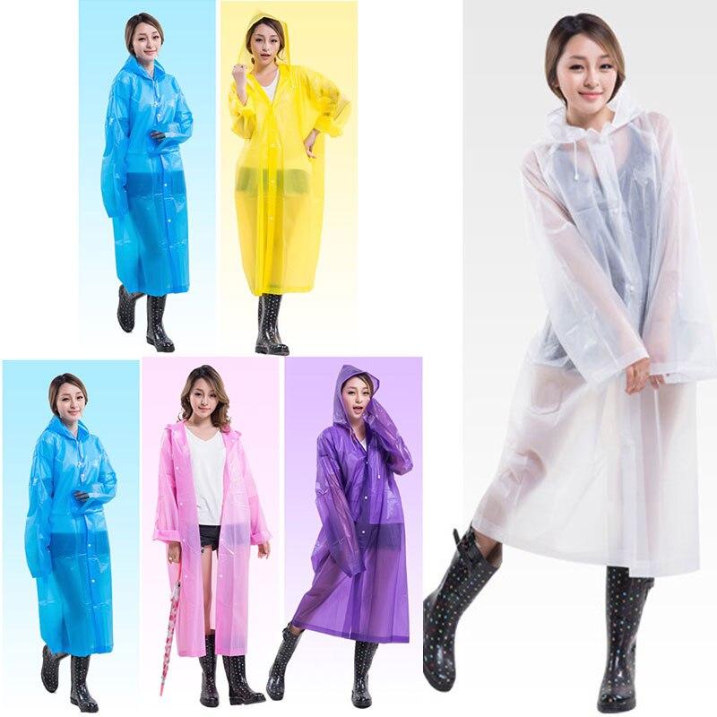 Fashion Women EVA Transparent Raincoat Poncho Portable Environmental Light Raincoat Long Use Rain Coat LS