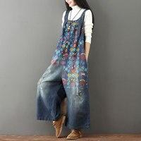 Autumn Wide Leg Bib Denim Overalls Jumpsuits Women Vintage Printed Flower Jean Large Size Suspender Drop Crotch Female Rompers