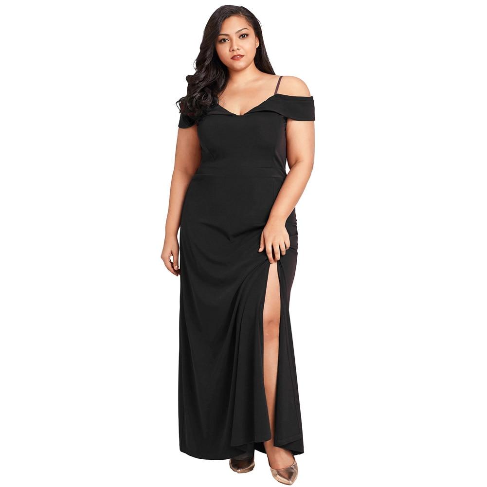 2019 Sexy Women Plus Size 4XL Dress Off The Shoulder High Slit V Neck Long Gown Party Elegant Maxi Dresses Streetwear Vestido
