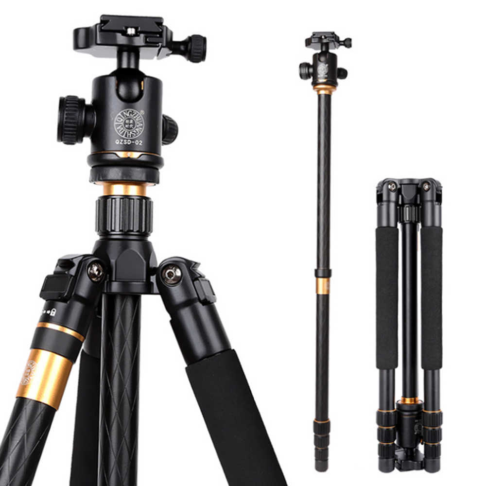 Hot Qzsd Q999 Fotografi Profesional Portable Magnesium Aluminium Alloy Tripod Kit Monopod Berdiri Ballhead untuk Kamera DSLR