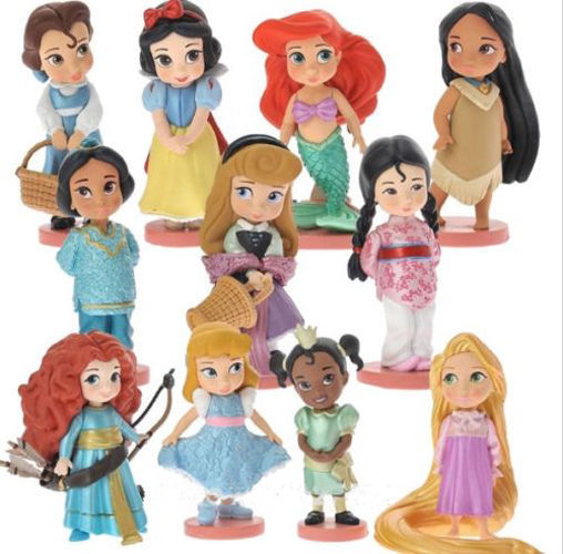 11pcs 8cm Moana Snow White Merida Action Figures Mulan Mermaid Tiana Jasmine Dolls Kids Toys For Children Disney Princess Toys