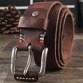Коровьей Натуральной Кожи Ремни мужчин бренд Ремень мужской пряжкой фантазии старинные джинсы ремень мужской cintos masculinos ceinture homme 4